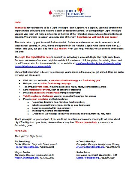 Light The Night Welcome Letter