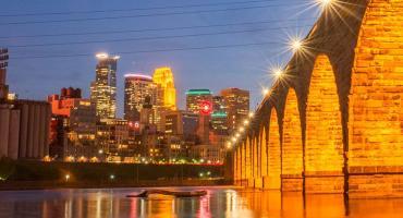 Downtown Minneapolis and Stone Arch Bridge